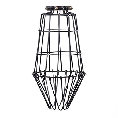 ArtifactDesign Long Metal Wire Light Cage Guard for Pendant Lamps DIY Lighting Fixtures Black