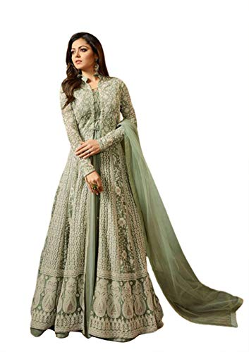Miss Ethnik Women's Light Green Banglory Silk Semi Stitched Top With Unstitched Santoon Bottom and Net Dupatta Solid Flared Top Dress Material (Pakistani Salwar Suit) (ME-945-Light Green)
