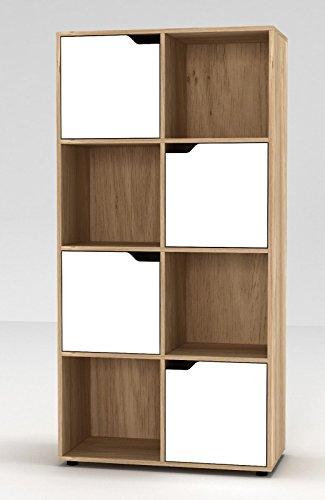 URBNLIVING Bücherregal aus Holz mit Türen, holz, Bücherregal aus Eiche mit weißer Tür, 8 Cube