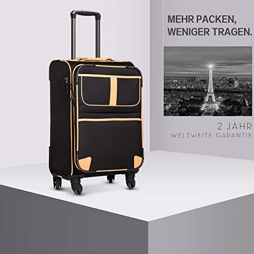 COOLIFE COOLIFE Stoff-Koffer Rollkoffer Leichtgewicht Reisekoffer Vergrößerbares Gepäck mit TSA-Schloss und 4 leiser Rollen (Schwarz, Handgepäck)