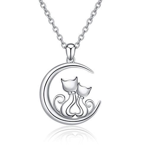 Katze Anhänger Halskette 925 Sterling Silber Hypoallergene Katzen Schmuck für Frauen Mädchen Mama Tochter