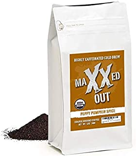 Peppy Pumpkin Spice - Limited Edition - Cold Brew Coffee - HIGHLY CAFFEINATED - USDA Organic - Coarse Ground - Maxxed Out - 12 oz. Resealable Bag
