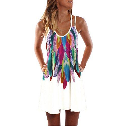 KUDICO Damen Sommerkleid ärmelloses Kleid Boho Lässige Kleidung Maxi Partykleid Strandkleid Cocktailkleid(Weiß, 4XL)