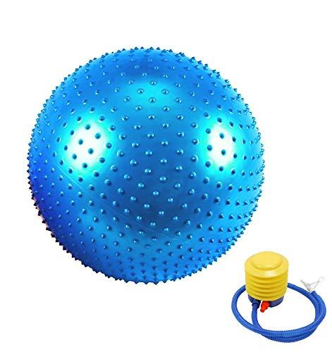 Pelota de gimnasia para yoga, pelota de fitness con bomba rápida, yoga, bolas con punto de masaje, para fitness, gimnasio, yoga, pilates y pilates (azul, 65)
