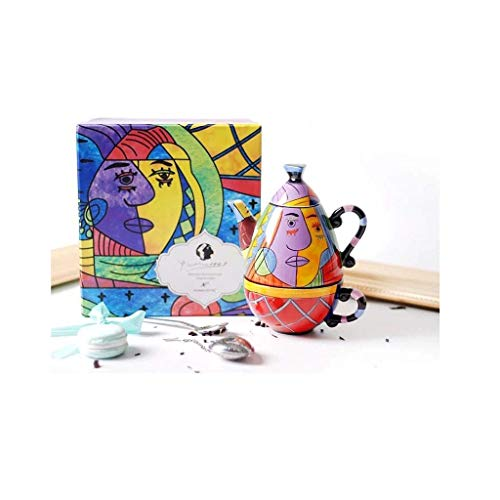 Tea Set Ceramic, Coffee Cup and Teapot Combination, Abstract Drawing Style, Gift Box