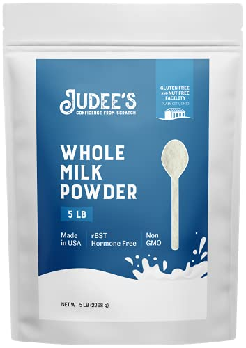Judee's Whole Milk Powder 5lb - 100% Non-GMO, rBST Hormone-Free, Gluten-Free & Nut-Free - Pantry Staple, Baking Ready, Great for Travel and Reconstituting - Made in USA