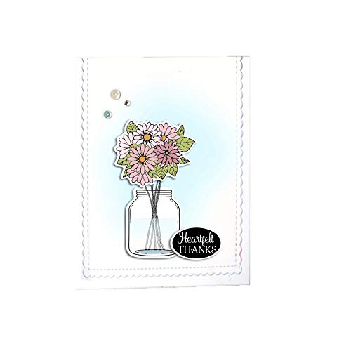 LZBRDY 4.3 by 6.1 Inch Daisy Flower Vase Bow Fish with Love Thanks Clear Stamp and Die Set for Card Making and Scrapbooking
