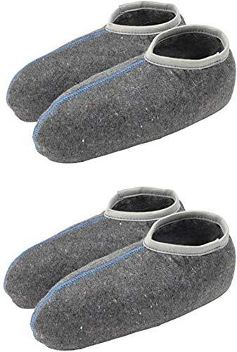 TippTexx 24 2 Paar Stiefelsocken, Ideal auch für Gummistiefel, Nässeschutz, warm, weich (45/46, Grau mit Wolle - 2 Paar)