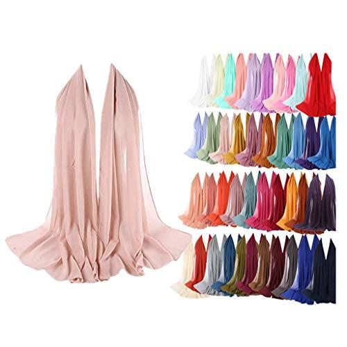 ZEELIY Damen Viskose Hijabs Schals Schöne Hijab Caps Schal Muslimischen Kopftuch Damen Schal - Plain Bubble Chiffon Schal Hijab Wrap Printe Schals Stirnband Muslim Hijabs