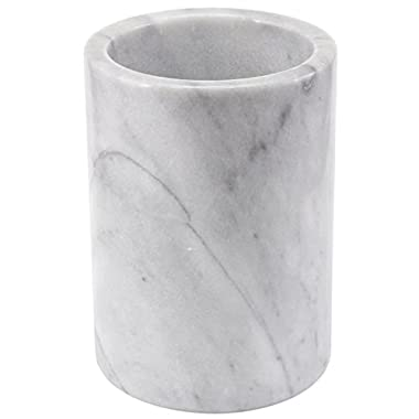 Creative Home Natural Marble Tool Crock Utensil Holder, White