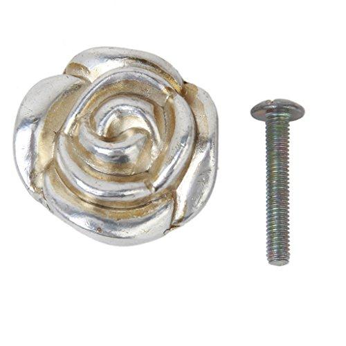 Homyl Perilla Tirador de Forma Rosa 3.3 cm Color Plata Antigua Manija para Puerta Cajón Gabinete Muebles