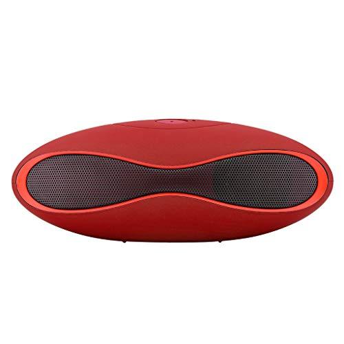 Mejor Altavoz Inalámbrico Bluetooth Mini SUPER BASS Portátil para Smartphone Tableta Multifuncional Altavoz Bluetooth Portátiles, Extra Bass Tecnología y Driver Doble Envolvente Energía Móvil (Rojo)