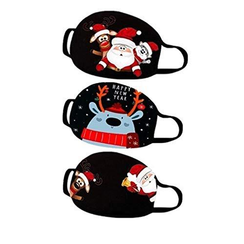 1/3/5/7 Stück Weihnachten Nikolaus Mundschutz Bunt mit Weihnachtsbaum Schneeflocke Motiv Mundschutz Waschbar Unisex Wiederverwendbar Atmungsaktiv Mund und Nasenschutz-A