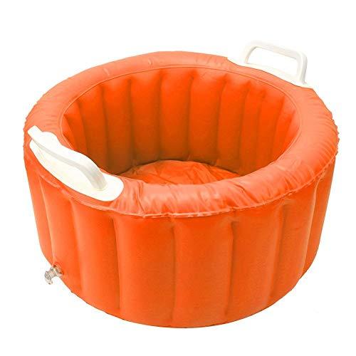 Ménage Bassin Gonflable Lavage Voyage Spa Bassin De Bain De Pieds Multi-Fonction Lavage des Pieds Bassin De Glaçage pour Pédicure Soins Relax Spa Usage Domestique(Orange)