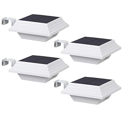 Outdoor Solar Gutter Lights,T-SUN 12 LED Waterproof Solar Powered Deck Lights 2 in 1 Dark Sensing Auto On/Off 4 Pack Landscape Lights for Patio Fence Front Doors Porch(Cold White)