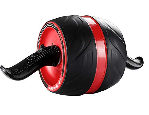 Laus Ab Carver Wheel Roller - with Knee Pad Mat, Automatic Rebound and Multiple Angles Core Workouts (Wine Red)