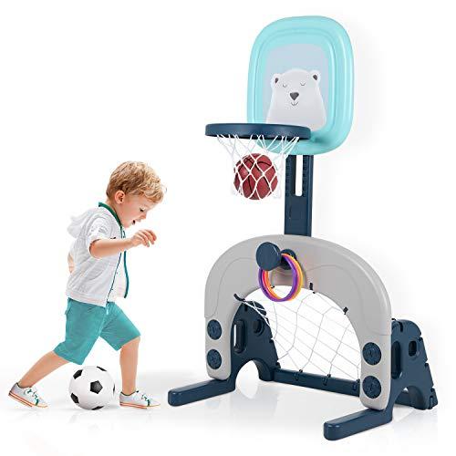 Kinder Basketballkorb Set, 3 in 1 höhenverstellbarer Basketballständer & Fußballtor & Wurfspiel für Kleinkinder, Sport für Jungen und Mädchen, Indoor geeignet