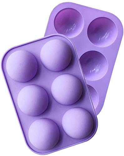 2 Pack 6 Holes Silicone Mold For Chocolate, Cake, Jelly, Pudding, Handmade Soap, Round Shape BPA Free Cupcake Baking Pan Mold Non Stick (purple)
