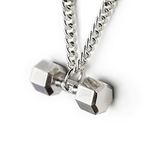Dumbbell Necklace Sterling Silver Seven Sided Dumbbell Pendant Fitness Necklace Gym Jewelry Barbel Charm Workout Gifts