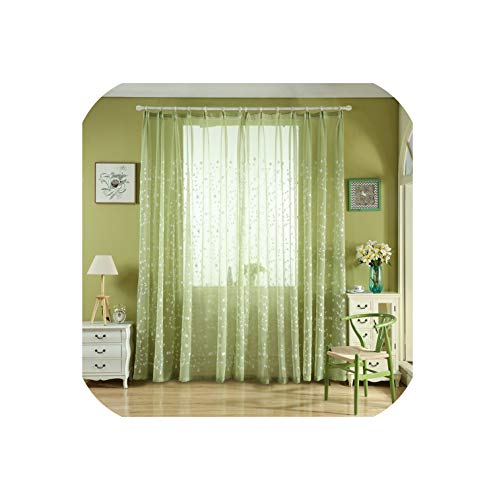 Embroidered Voiles Semi Country Style Sheer Curtains for Bedroom Living Room Kitchen Door Window Curtain Drape Panels,Green,W250xL250cm,Pencil Pleat