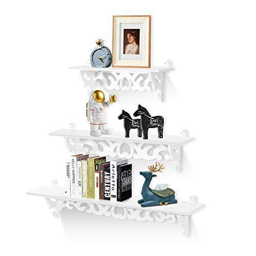 Estanteria Pared Blanca, Estante de Almacenamiento de Exhibición de Pared, Estantes Montados en la Pared, Juego de Estantes Flotantes de Madera para Baño Dormitorio Oficina Decoración de Sala de Estar ✅