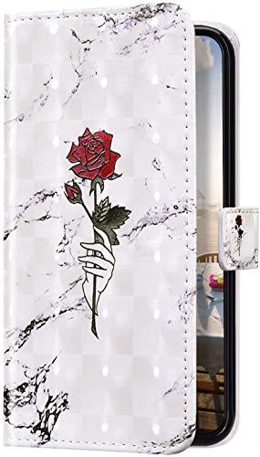 Uposao Kompatibel mit Samsung Galaxy S10e Hülle Bling Glitzer 3D Bunt Marmor Muster Schutzhülle Leder Hülle Tasche Klapphülle Wallet Bookstyle Case Cover Ständer Kartenfächer,Rose Blumen