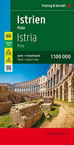 Istria, mapa con rutas cicloturistas y de carreteras. Escala 1:100.000. Freytag & Berndt.: Toeristische wegenkaart 1:100 000 (Auto karte)