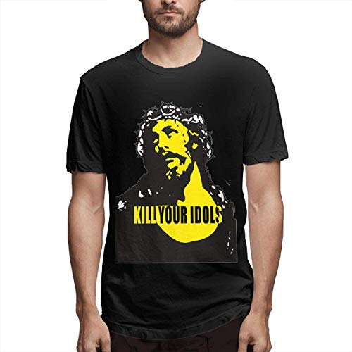 Kingloo Camiseta Divertida Personalizada Kill Your Idols Men's Camiseta de Manga Corta con gráfico de Moda