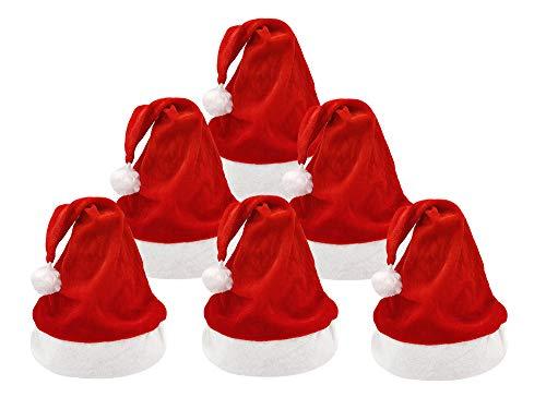 Pack 6 de Gorros Papá Noel para Navidad, Sombrero Santa Claus de Terciopelo Suave y Rojos para Fiesta Navideña, Adultos y Niños Unisex (Adulto*3+Niño*3)