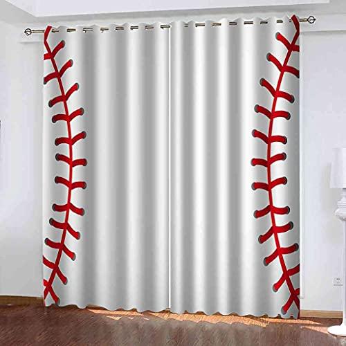 GXLOGA Cortinas Modernas Opacas con Ojales 2 Piezas 3D Béisbol Blanco Cortinas Termicas Aislantes Frio y Calor para Habitacion Infantil Dormitorio Decoración para Hogar 200x214 cm(ANxAL)