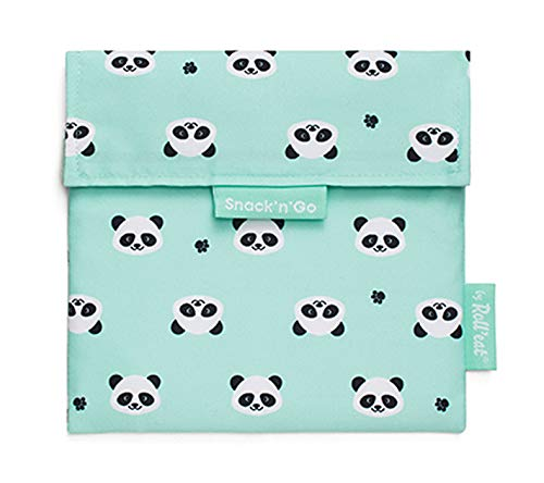 Roll'eat - Boc'n'Roll Tiere Pandas - Stoffbrotdose   wiederverwendbarer ökologische Sandwichbeutel, BPA frei, verstellbare Sandwichverpackung, waschbar, 11x15cm(geschlossen)/54x32cm(offen)