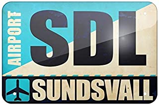 NGFD Metal Sign Airportcode SDL Sundsvall, Small 8x12 inch Metal Tin Sings