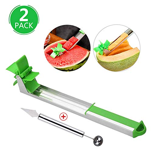Watermelon Windmill Cutter, Watermelon Slicer,Fruit Slicer Carving Kit, Corer Cutter Knife Tongs, Melon Baller Scoop and Fruit Carving Knife