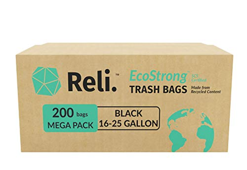 Reli. Recyclable Eco Friendly 16-25 Gallon Trash Bags (200 Count, Black) Made From Recycled Material / Made in USA - 16 Gallon - 25 Gallon Black Garbage Bags