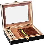 QHHALXZ Humidor - Madera de cedro para hombre con vidrio/higrómetro/humidificador, puede almacenar varios cigarros (color: negro) Caja decorativa (color: negro)