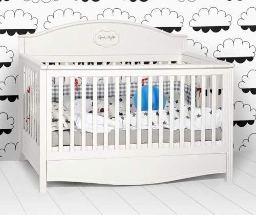 naka24 Kinderbett Gitterbett ''Good Night'' 140x70 cm Busche/MDF viele Farbvarianten (Weiss)