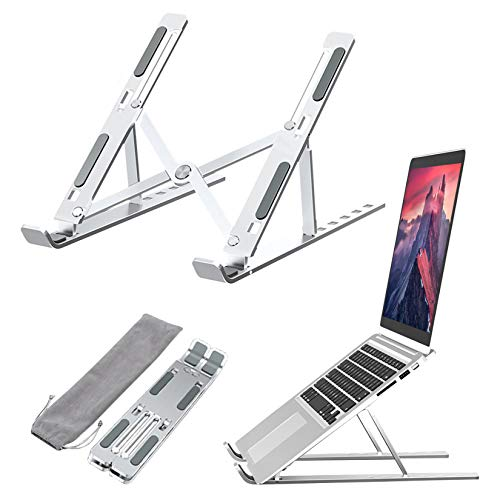 Yuer Foldable Laptop Holder Stand Laptop Raiser Table Portable Computer Holder with Storage Bag for Home Office Travel Silver 1Pc