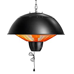 PAMAPIC Electric Patio Heater, Outdoor Ceiling Patio Heater, Black Balcony Heater