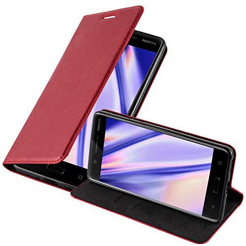Cadorabo Hülle für Nokia 5-2017 - Hülle in Apfel ROT – Handyhülle mit Magnetverschluss, Standfunktion & Kartenfach - Case Cover Schutzhülle Etui Tasche Book Klapp Style