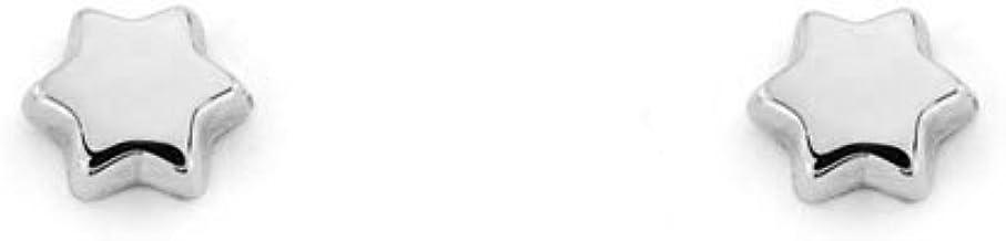 Pendientes Bebe o niña oro blanco Estrella lisa (9kts)
