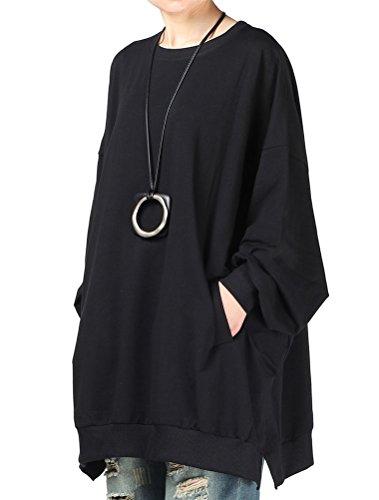 Mallimoda Damen Neu Oversize T-Shirt Langarm Casual Tunika Tops Sweatshirt, Schwarz, XL