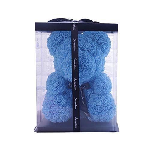 star-xing Rosenbär Neue 25cm Rose Blumenbär Geschenkbox Hochzeit Weihnachtsdekoration Valentinstag Geben Sie Einer Freundin Gif-25cm Sky Blue Box-,