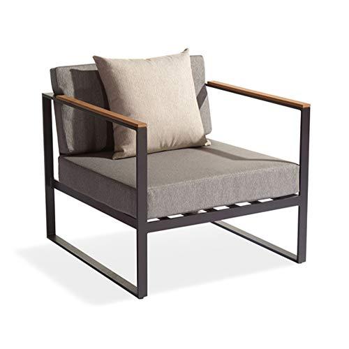 Meubletmoi - Sillón bajo de jardín moderno en aluminio gris antracita, reposabrazos de madera y cojines de textileno gris – Cali