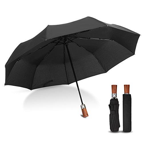Ombrello Pieghevole Automatico, CAMTOA Classico Ombrello Antivento,Un Pulsante per Automatico Apri e Chiudi, Resistenza Compatto Pioggia Ombrello con 9 Costole in Fibra di Vetro