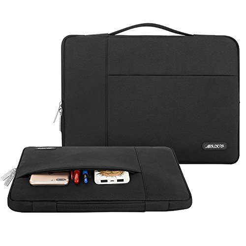 MOSISO Laptop Aktentasche Kompatibel mit MacBook Pro 16 Zoll, 15 15,4 15,6 Zoll Dell Lenovo HP Asus Acer Samsung Sony Chromebook,Polyester Multifunktion Sleeve Hülle, Schwarz