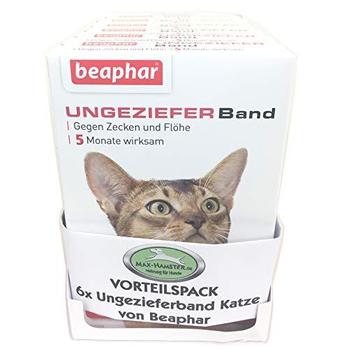 MAX HAMSTER SPARPACK: 6 x Beaphar Ungezieferhalsband/Flohband für Katzen Flöhe + Zecken Weg - Ungezieferband von Beaphar (Flohband) L: 35cm