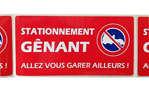 30 étiquettes STATIONNEMENT GENANT pour véhicule mal garé - Format 50 x 100 mm - Stickers autocollant