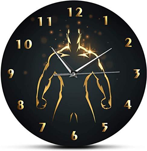 Reloj De Pared Reloj De Pared Reloj De Tiempo De Entrenamiento De Fuerza De Madera Deporte Arte Gimnasio Reloj De Pared Fitness Culturismo Reloj De Pared De Barrido Silencioso Hombre Cueva Sala De Est