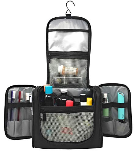 Large Capacity Hanging Toiletry Bag Water Resistant Machine Washable | Organizer for Men and Women Spacious Compact Kit | Strong Zippers, Sturdy Hook | Handle | 17 Compartments | Travel and Home