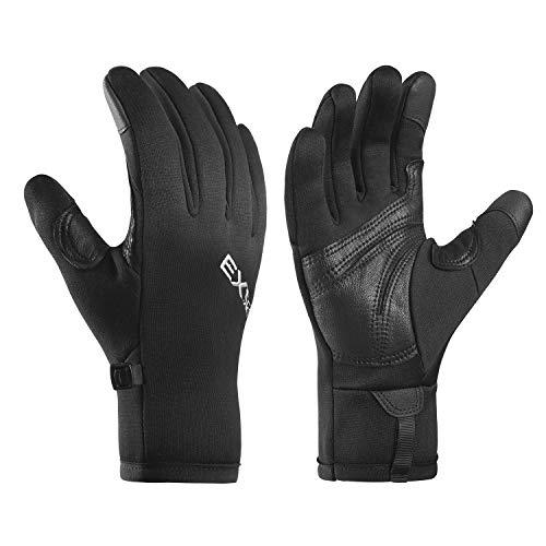 EXski Laufhandschuhe Herren Damen Touchscreen Handschuhe Outdoor Sport Klettern Wandern Moped Winter Warm Leichte Schwarz L